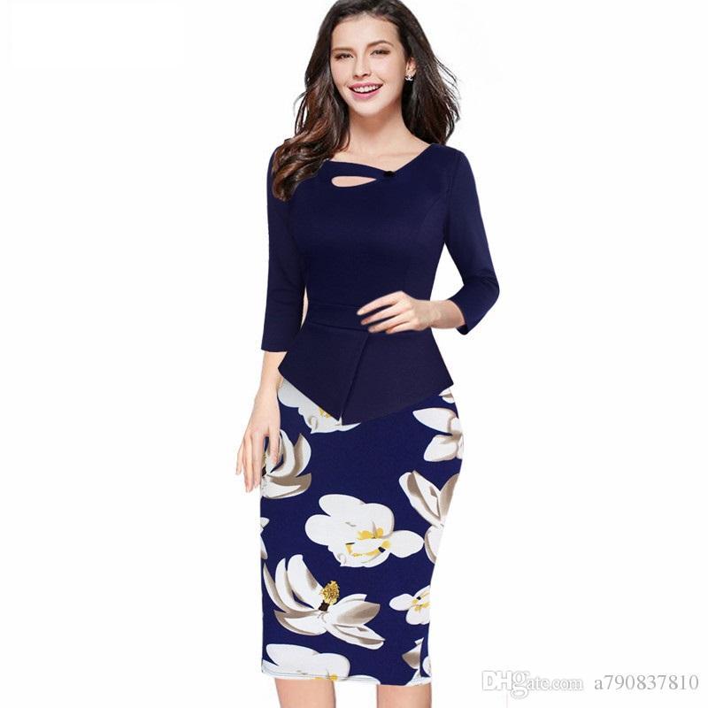 Robes Nice-forever 2017 Nouvelle arrivée Imprimer Floral Solide Patchwork Bouton Travail Occasionnel Manches longues Moulante Printemps Automne Bureau Dress NYC017