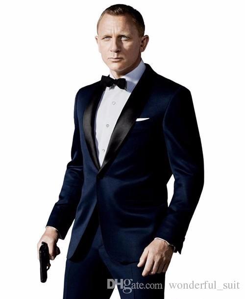남자에 대 한 사용자 정의 만든 의상 맘 슬림 맞는 Groomsman 양복 해군 파란색 사이드 환풍 최고의 남자 정장 결혼식 남자 정장 (자 켓 + 바지)