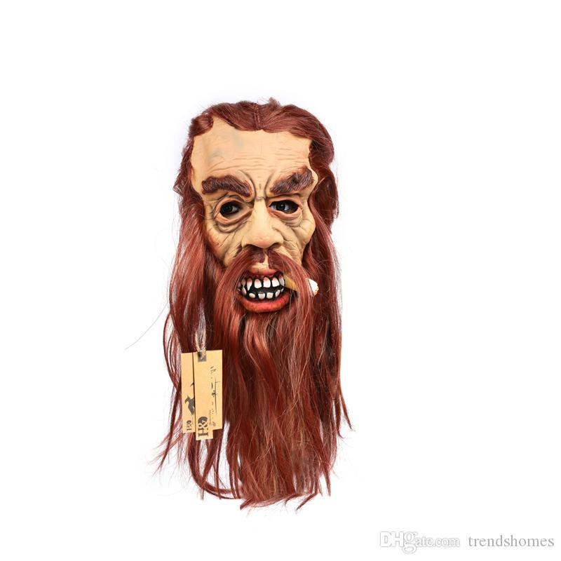 Длинные волосы полная голова косплей страшно курильщик призрак латекс Маска ужас Маскарад взрослых призрак Маска Хэллоуин реквизит костюмы платье