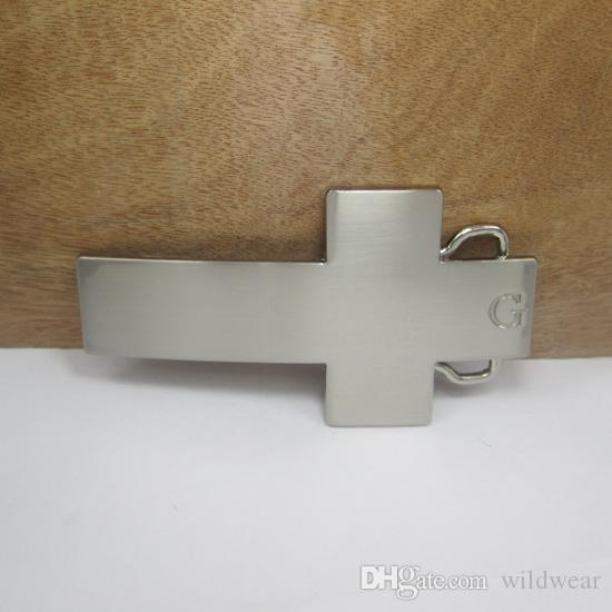 BuckleHome fashion cross belt buckle with silver finish FP-02996 with continous stock free shipping