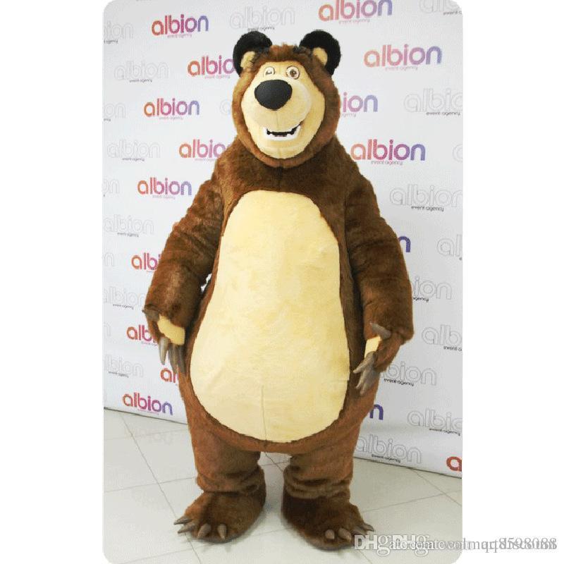 2017 venda direta Da Fábrica Masha Urso Ursa Grizzly Trajes Da Mascote Animal Masha Urso adulto Personagem Mascote Dos Desenhos Animados