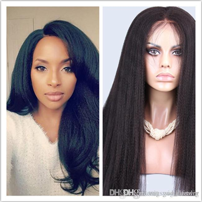 hot selling Italian Yaki Straight Wig Glueless Lace Front Human Hair Wigs For Black Women 130% Density Hair Wig in stock