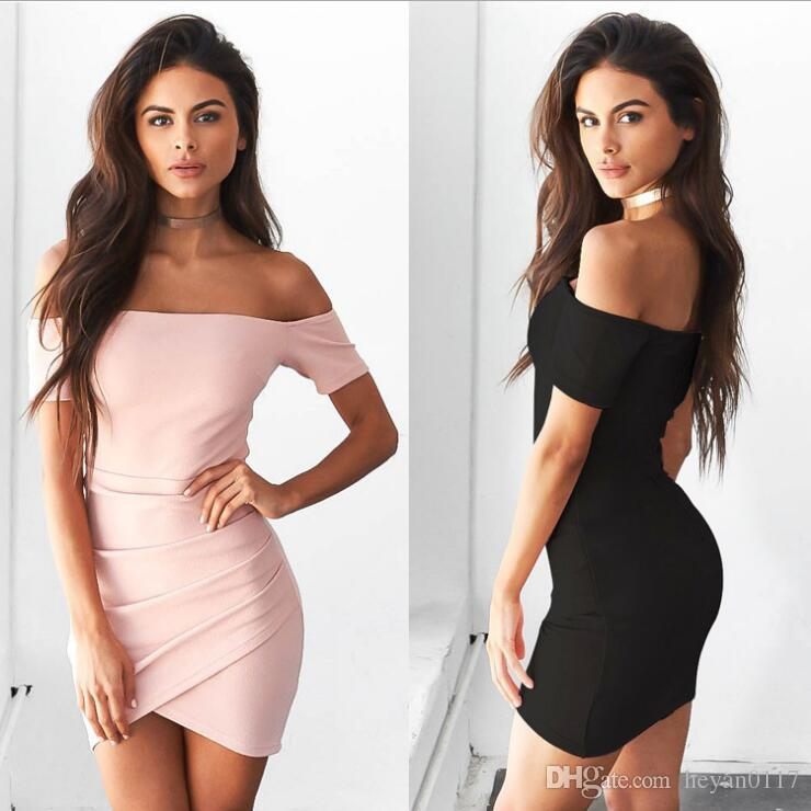 daa79223994 2019 Women'S Fashion Off The Shoulder Sexy Tight Short Dress Long Sleeves  Nightclub & Party Skirt From Heyan0117, $8.13 | DHgate.Com