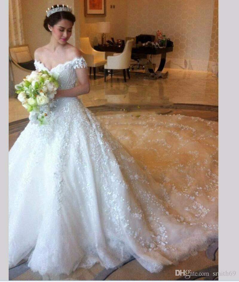 Luxury Ball Gowns Wedding Dresses Puffy Sequins Tulle Princess Bride ...