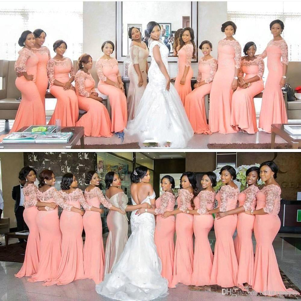 2017 Vintage Mermaid Coral Bridesmaid Dresses Lace Illusion Sheer Jewel Sheath Stretchy Floor Length Formal Party Inexpensive Dresses