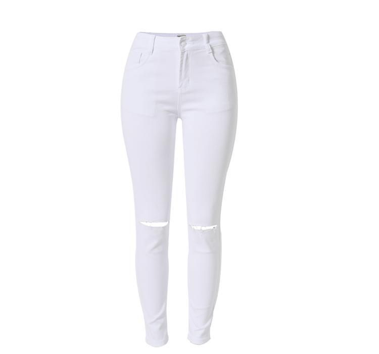 2017042301 jeans a vita alta moda donna Femme Pantaloni matita stretch bianchi denim con tasche jeans strappati skinny per le donne 2017