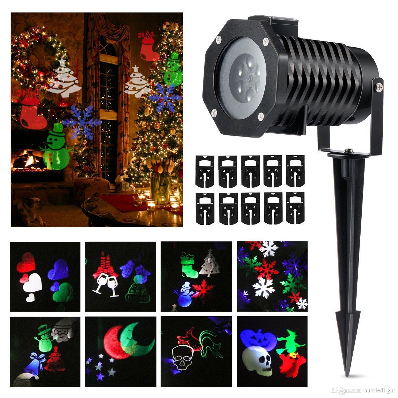 Christmas Lights Spotlights, LED Landscape Projector Lights, Snowflakes Santa Stars Gifts Pattern Lens Moving Light Show for Xmas