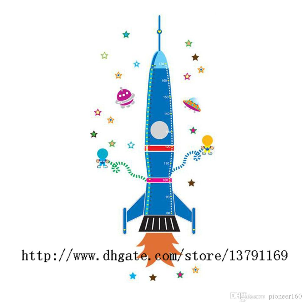 Removable Home Decoration Art Vinyl Mural Wall Sticker Decal Cartoon Spaceship Rocket Height Chart Decal Paper