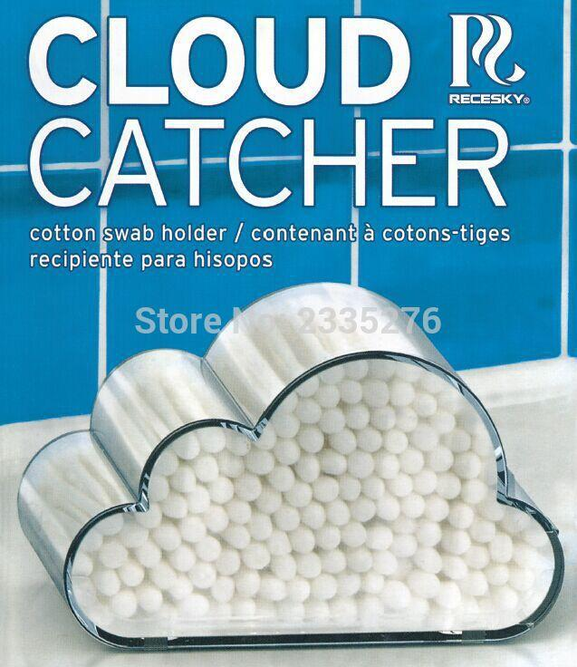 Wholesale- Free Shipping 1Piece Portable Cloud Cotton Bud Holder Fashion Cloud Catcher Cotton Swab Holder Hinged Acrylic Case