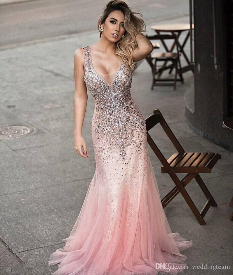 Glänzende Nixe-Spitze-Abendkleider Crystals Sheer tiefe V-Ausschnitt Perlen Abendkleider bodenlangen Tüll mit Pailletten formales Kleid