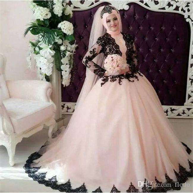 Modest Black Lace Ball Gown Long Sleeve Muslim Wedding Dresses ...