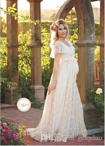Vestido de maternidade para fotografia tiro em torno do pescoço branco vestido de maternidade fotografia adereços manga curta rendas grávidas gravidez vestido