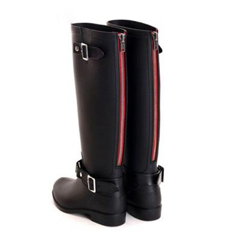 Stivali da pioggia con fibbia stile equitazione Stivali alti da donna con zip rosso alto e freddo Aggiungi una fodera invernale calda