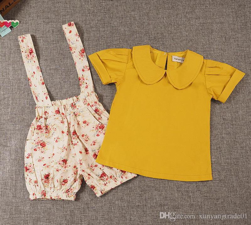 INS Summer T-shirt+Shorts Girls Tops Turn-down Collar Tees Floral Printed Shorts Suspender Trousers Pants Kids 2PCS Set Baby Clothes 088