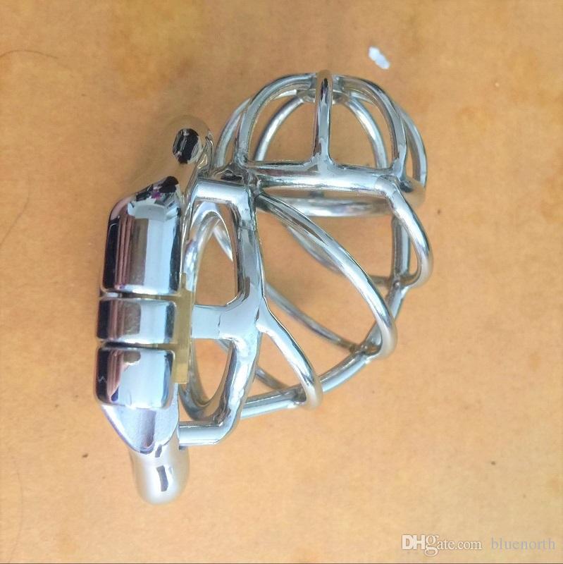 Männer Jungfräulichkeitsgeräte einzigartige rostfreie Keuschheit Käfigschloss Hahn Penis Keuschheit Männlicher Gürtel Hahn Stahlschloss Design Ring für Männer VRGDM