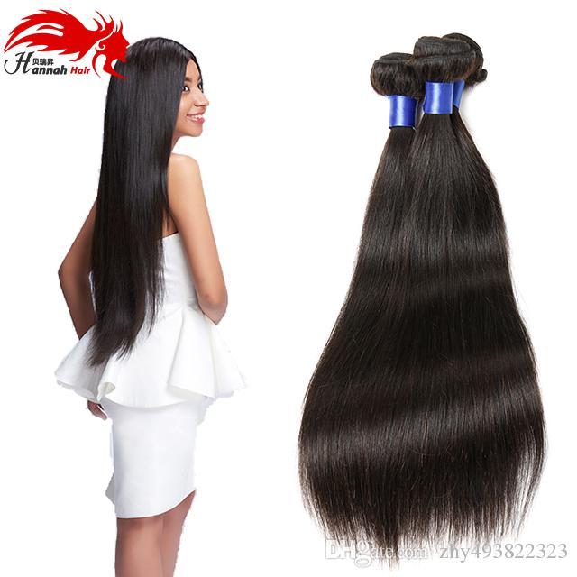[Hannah Hair] Brésilienne Droite Vierge Cheveux 3 PCS Seulement 100% Non Transformés Weave Bundles Bundles 10-28 Inch Couleur Naturelle