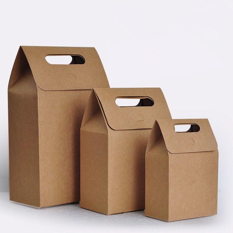 100pcs / lot 12x7x18cm Mini papel Kraft hecho a mano envases de panadería, bolsas de galletas, envases de alimentos, bolsas de pan de papel.
