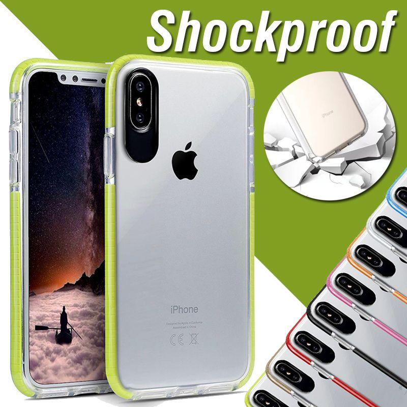 TPU bicolore morbido + PC trasparente trasparente antiurto armatura custodia protettiva per iPhone XS Max XR X 8 7 6 6S Plus Samsung Galaxy S9 S8