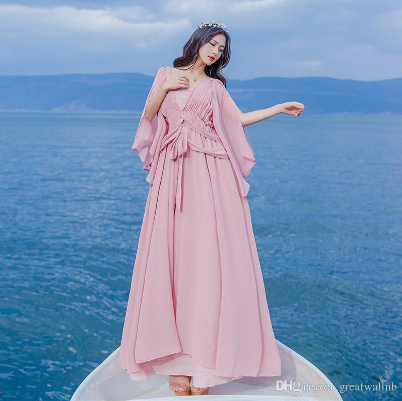 Freeship Licht Lotus Pink / Weiß Chiffon Schmetterling lange Vintage mittelalterlichen Kleid Renaissance Prinzessin Fee Kostüm viktorianischen Kleid