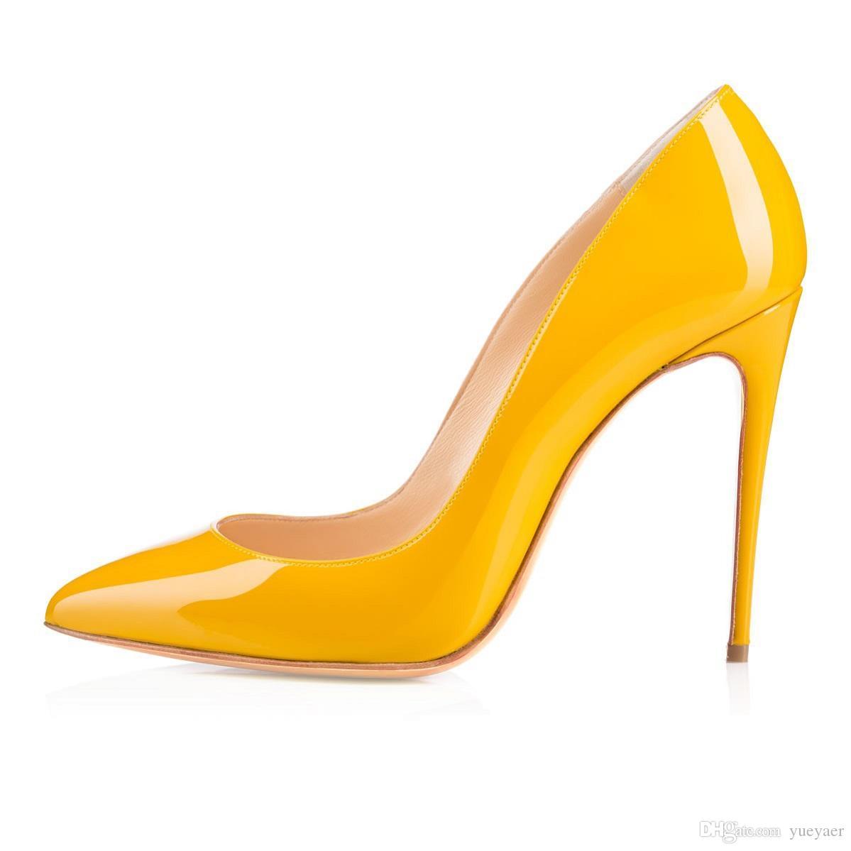Karmran Kadınlar El Yapımı Moda Bigalle Dollies Stil 100 MM Yeni Varış Sivri Yüksek Topuk Ayakkabı Pompaları Sarı Z628