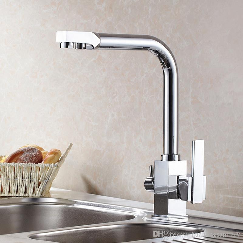Cuisine avec robinet d'évier en laiton pur et Chrome Tri débit évier Mélangeur Osmose deux voies Filtre à eau-Rotatif robinets commerciaux
