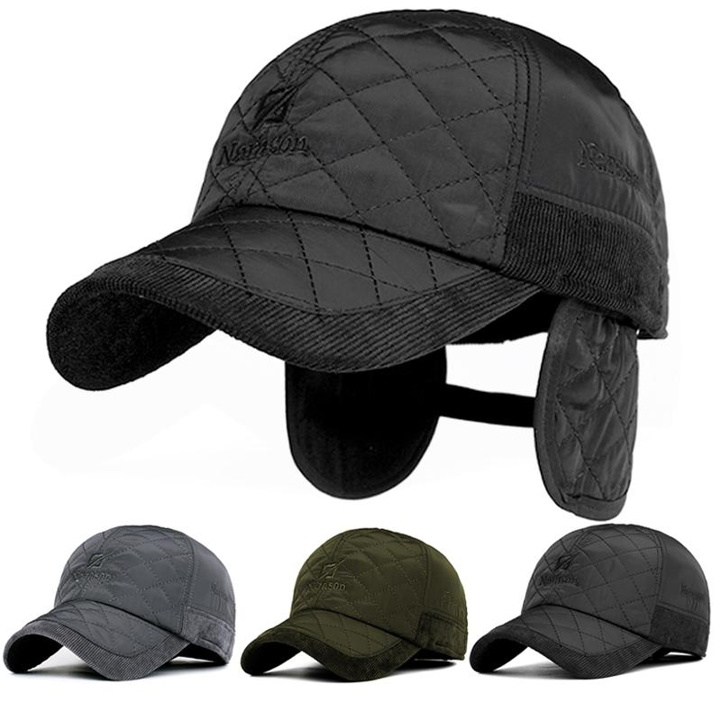 Wholesale- Fashion Warm Men's Winter Baseball Cap  Snapback Black plaid Bone Baseball cap Trucker Mens Hats Ear Flaps Casual hat gorro