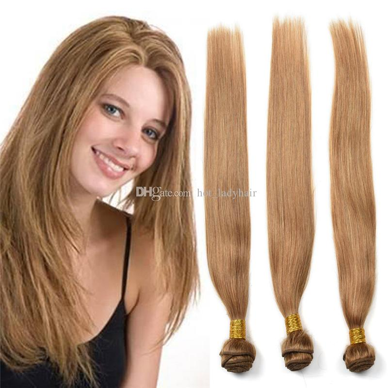 Brazilian Honey Blonde Virgin Hair Straight 3 Bundles Color #27 Strawberry Blonde Straight Human Hair Extensions 3Pcs Lot Dhl Free