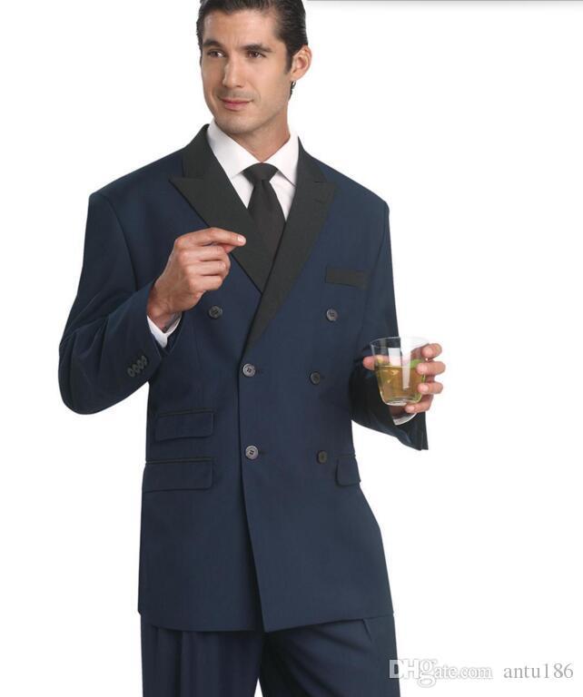 Yeni erkekler suits yakışıklı lacivert düğün Groomsmen takımları doruğa Yaka Smokin çift göğüslü balo takımları (Ceket + Pantolon)