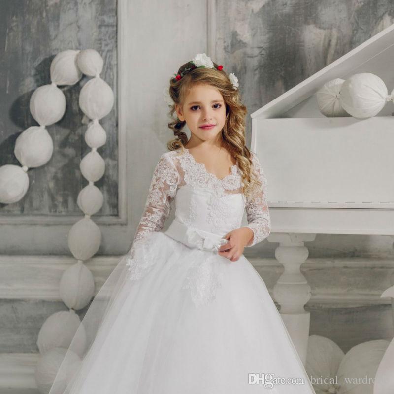 Großhandel Blumen Mädchen Kleider Für Hochzeits Weiße Mädchen ...