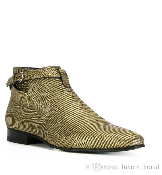 Large Size Stripe Shoes Genuine Leather Ankle Boots Gold Pointed Toe Zipper Martin Boots Flat Heel Fashion Brand Men Boots