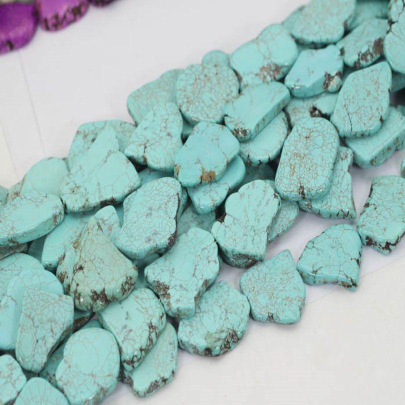 40 cm de longitud irregulares turquesas sintéticas perlas sueltas para hacer rebanada colgante de joyería de regalo de mujer de la boda collar de gargantilla de piedra exagerada