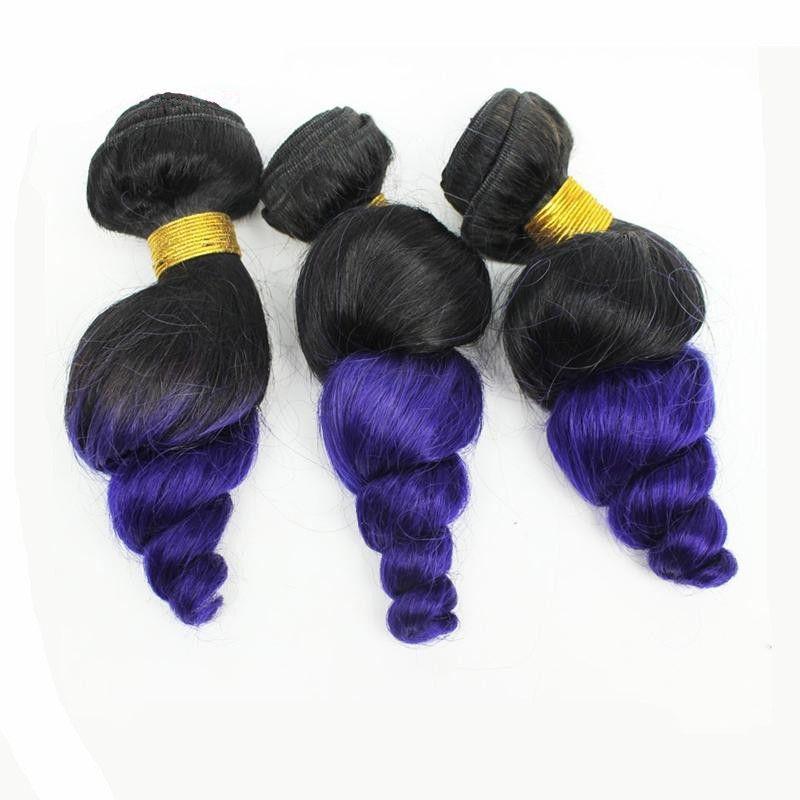 8A Brazilian Ombre Loose Wave Brazilian 1b Purple Hair Bundles Virgin Human Hair Weave Two Tone 1B Purple Ombre Hair Extensions For Sale