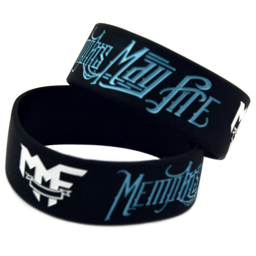 50PCS 1 Inch Wide Memphis May Fire Silicone Bracelet Rock Style Band For Music Fans Gift