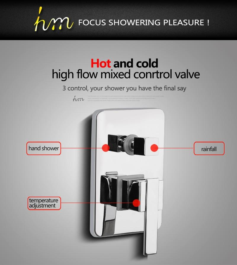 Valve Mixer,Solid Brass In Wall Concealed Bathroom Shower Control Switch Valve Hot &Cold Water Shower Switch Mixing Valve (11)