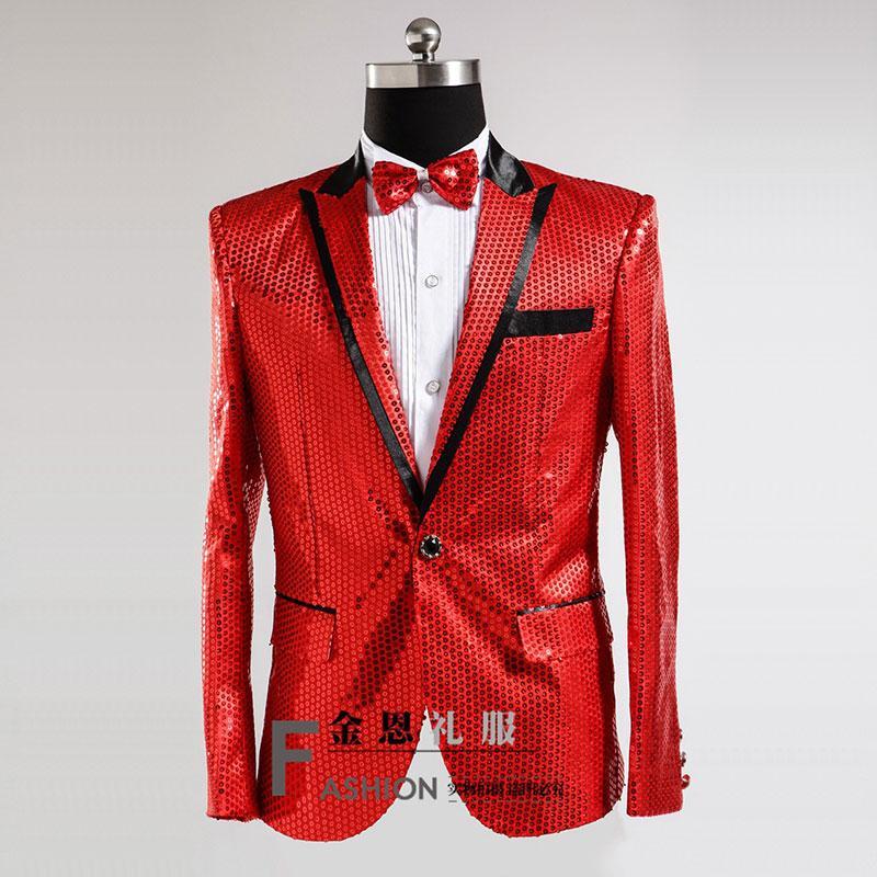 Gros-2017 Mens or / bleu / blanc / rouge paillettes tuxedo costume scène de mariage performance blazers pantalon costume