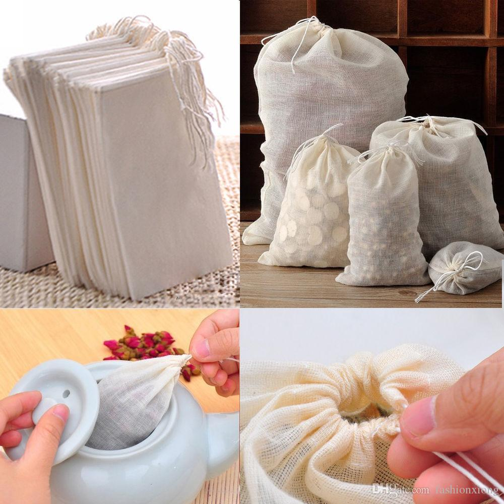 الجملة حار بيع المحمولة 100 قطعة 8x10 سنتيمتر القطن الشاش قابلة لإعادة الاستخدام الرباط أكياس التعبئة أكياس حمام الصابون الأعشاب تصفية الشاي