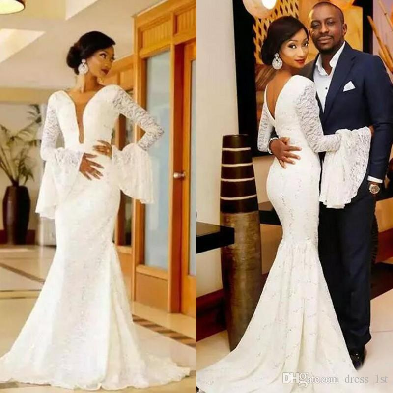 African 2017 Full Lace Deep V Neck Long Sleeve Mermaid Wedding Dresses Vintage Bridal Gowns Plus Size Custom Made China EN11067