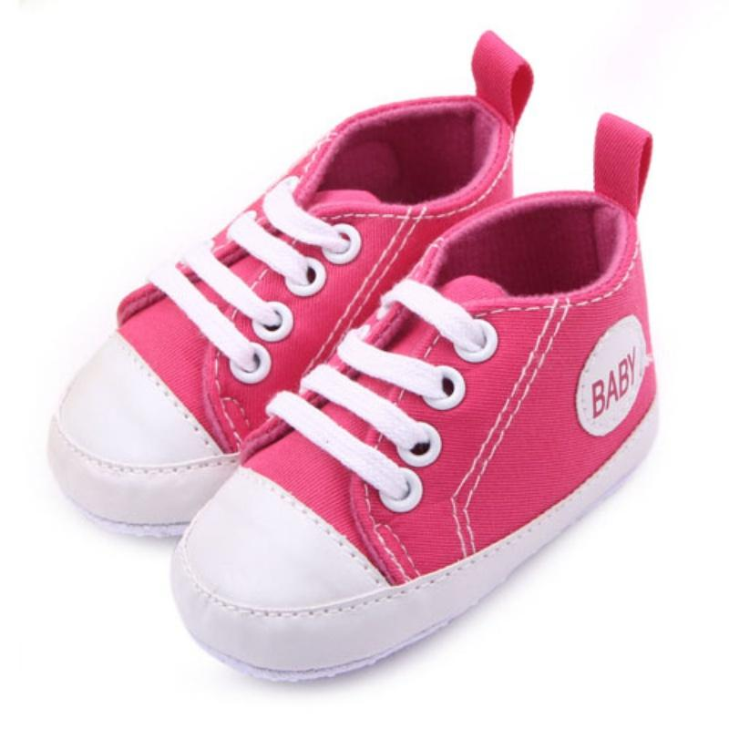 Wholesale- Baby Shoes First Walkers Toddler Boy Girl Canvas Shoes Soft Sole Sneakers 1-3 Y