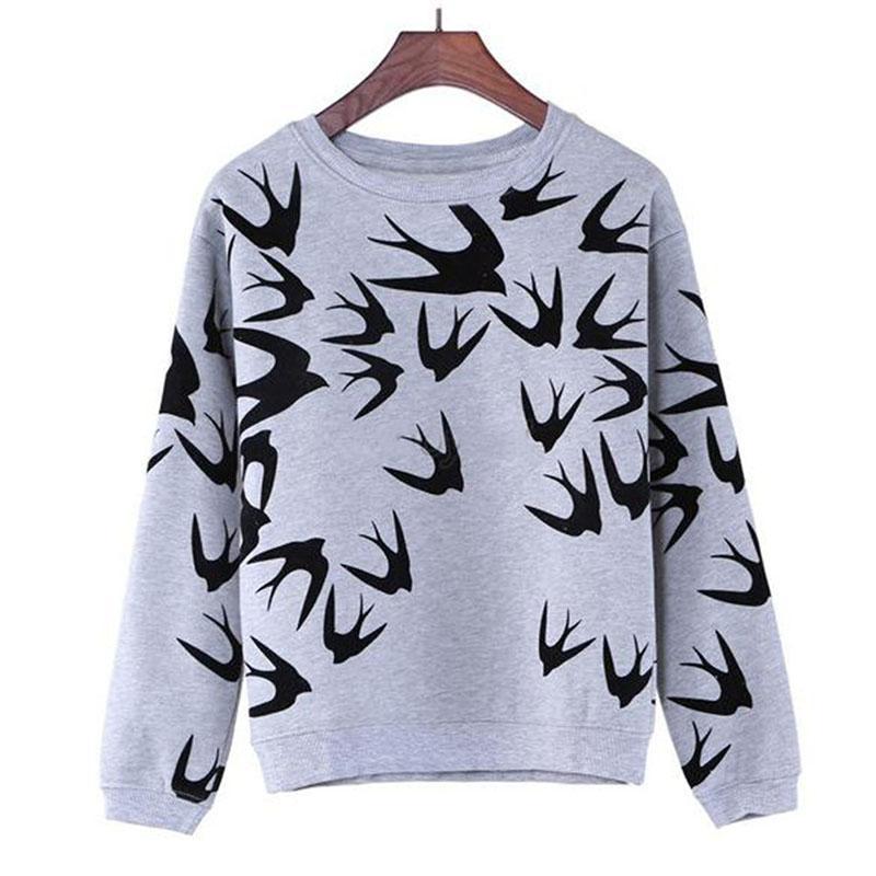 도매 - 2016 브랜드 새로운 패션 여성은 긴 소매 스웨터 스웨터 탑스 인쇄 삼키는