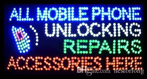 """2017 Hot Sale 15.5""""X27.5"""" indoor Ultra Bright flashing repairs all mobile phone unlocking accessories business shop sign of led-"""