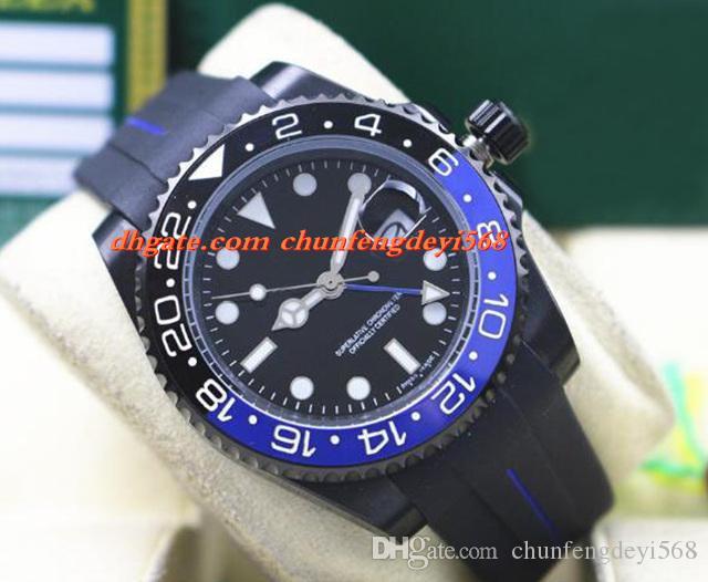 Art- und Weiseluxusarmbanduhr 116710 40mm keramische Einfassung BATMAN PVD, das schwarzes / blaues Gummiband-automatische Bewegungs-Mann-Uhren neue Ankunft beschichtet