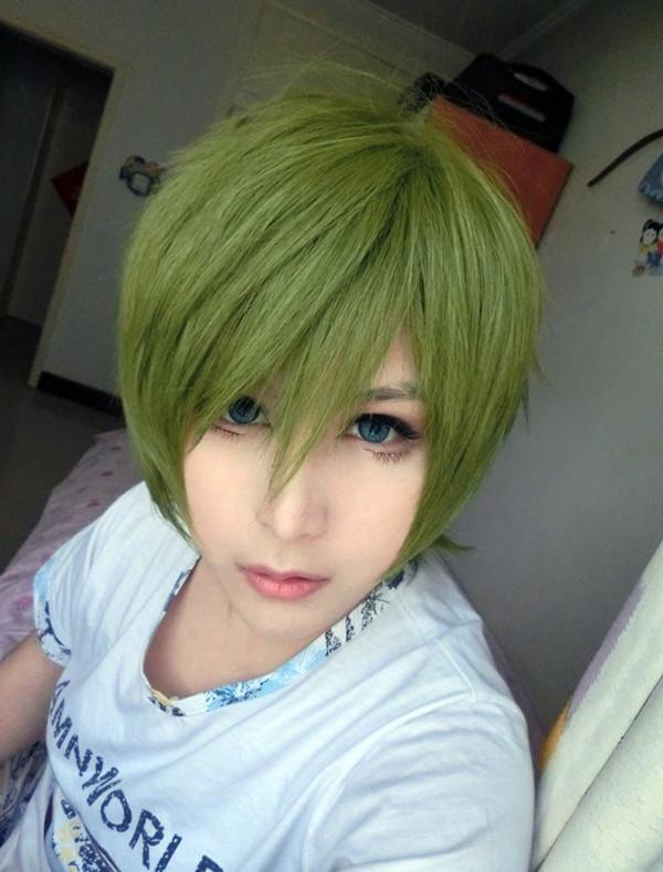 MCOSER Prezzo all'ingrosso 13 pollici verde breve ruolo anime Kuroko no Basuke Midorima Shintaro Parrucca Cosplay