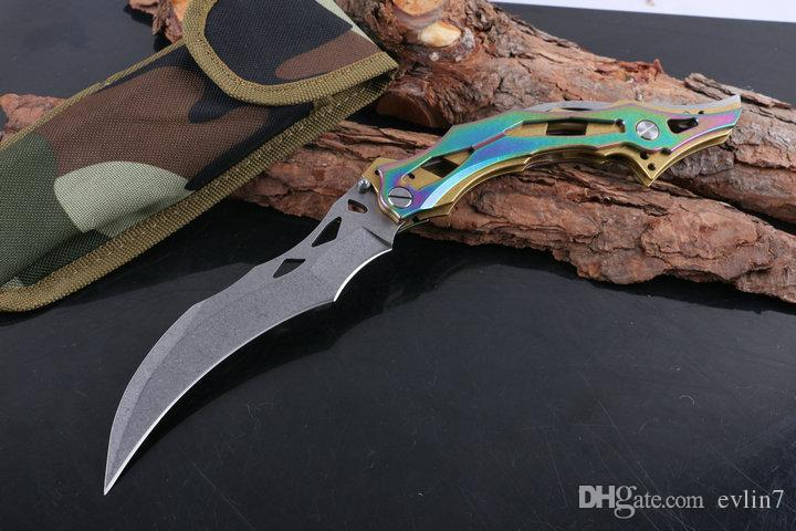 2017 New Karamit Claw Knife 8Cr13 Stone Washed Blade Steel Handle Outdoor Survival Tactical Knives Wtih Nylon Sheath