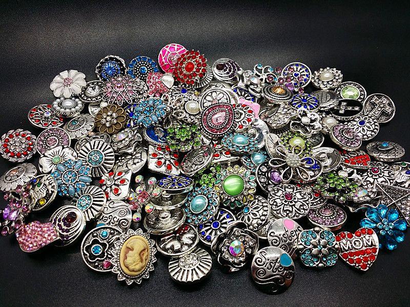 all'ingrosso assortiti 100pcs argento antico 18mm zenzero snap charms bottoni fai da te con strass CZ nuovissimi mix design