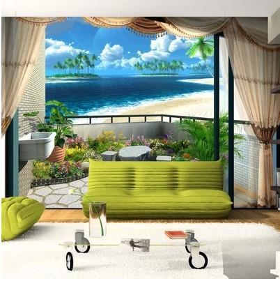 Großhandel Benutzerdefinierte Wandbild Wand Papier Strand Blauen ...