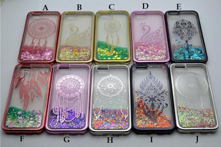 Placca per TPU Glitter Liquid Quicksand Custodia per Iphone 7 6S 6 Plus Galaxy S8 Plus Bordo S7 ZTE Zmax Pro Z981 LG V20 X Power Stylus 3