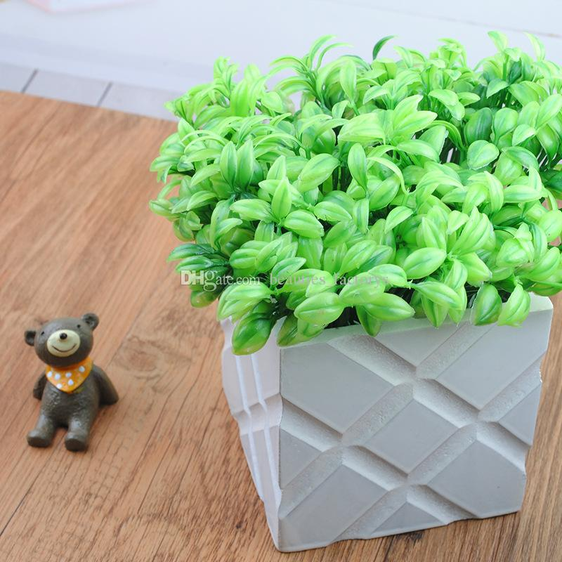 10pcs Artificial Bean Sprouts Small Leaves Plant 6 Branches Clover Grass Foliage Flower Leaf Garland Plant Home Decoration