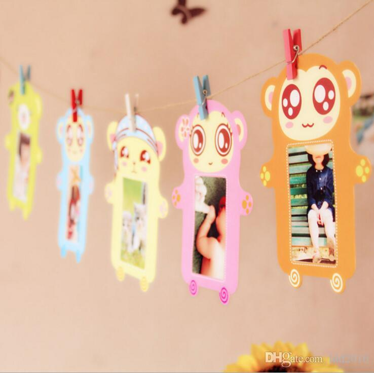 hotsale home decorations 6pcs/set 3 inch cute cartoons wall hanging paper photo frame picture album kraft paper card holder wooden clip rope