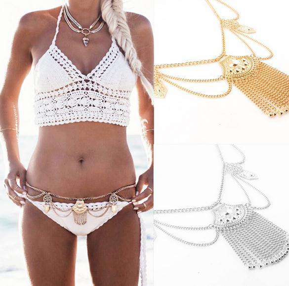 Bauchketten Europa und USA New Fashion Carved Water Drops Tassel Waist Chain