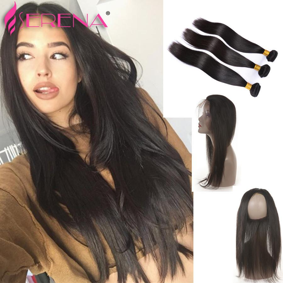 360 Lace Silk Straight 360 Lace Frontal С пучками Человеческие волосы с фронтальным 360 Закрытие с детскими перьями Перуанские черные наращивания волос